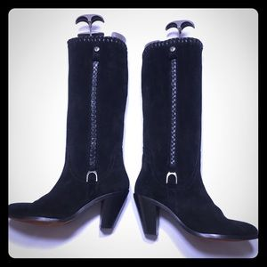 """H.S. Trask Black suede boots braided detail 3""""heel"""